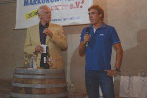 Ruderweltmeister Florian Roller (rechts) mit Wolfgang Milde beim 4. Markgröninger Kelter-Talk am 13. September 2019 | Foto: Markgröningen aktiv